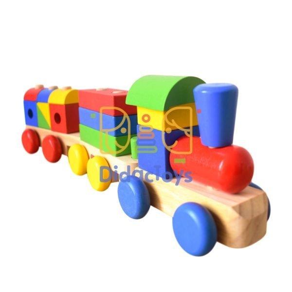 Juego de tren de madera